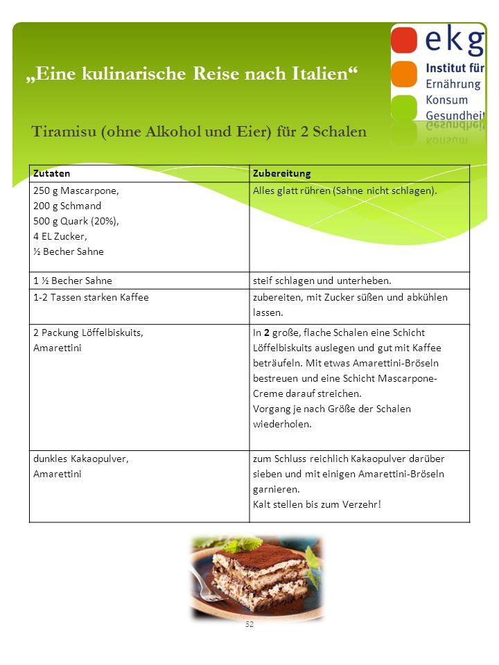 """Tiramisu (ohne Alkohol und Eier) für 2 Schalen 52 """"Eine kulinarische Reise nach Italien"""" ZutatenZubereitung 250 g Mascarpone, 200 g Schmand 500 g Quar"""