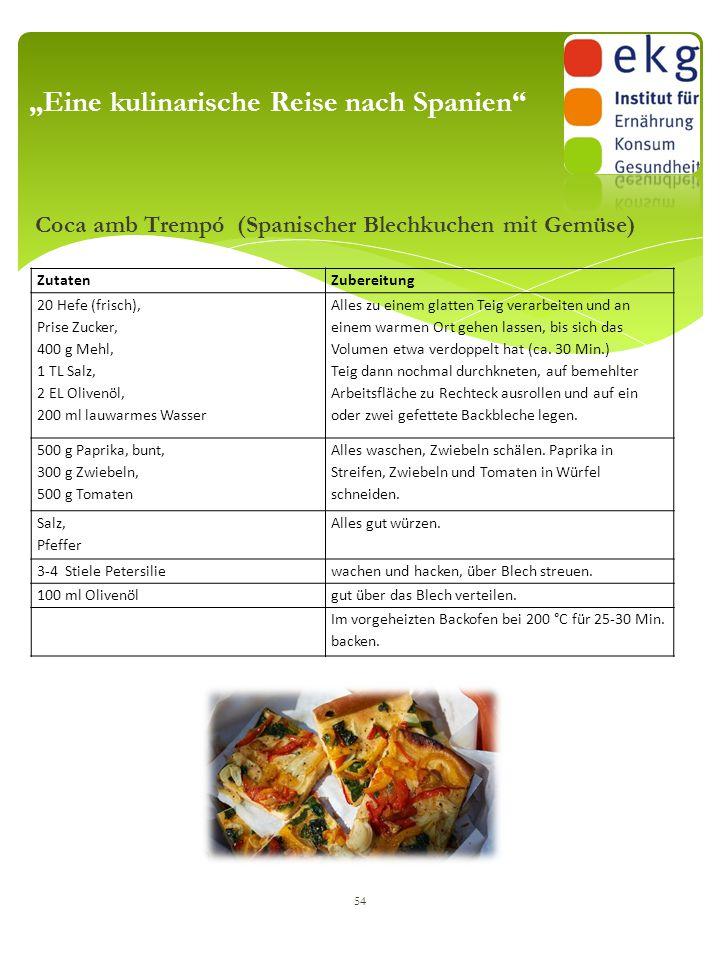"""Coca amb Trempó (Spanischer Blechkuchen mit Gemüse) 54 """"Eine kulinarische Reise nach Spanien"""" ZutatenZubereitung 20 Hefe (frisch), Prise Zucker, 400 g"""