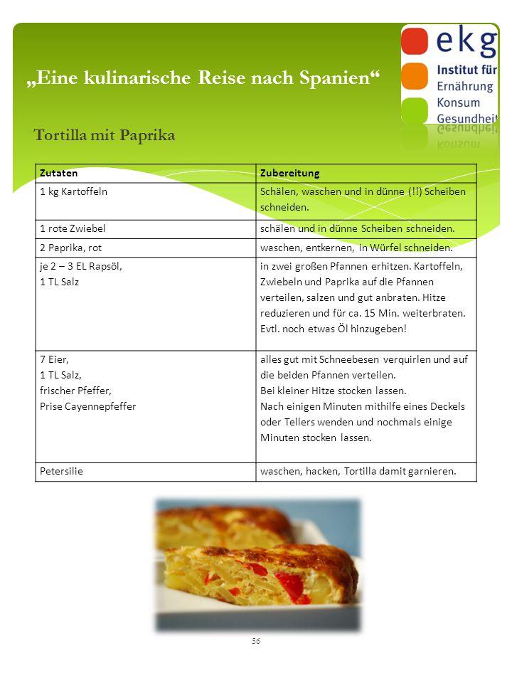 """Tortilla mit Paprika 56 """"Eine kulinarische Reise nach Spanien"""" ZutatenZubereitung 1 kg Kartoffeln Schälen, waschen und in dünne (!!) Scheiben schneide"""
