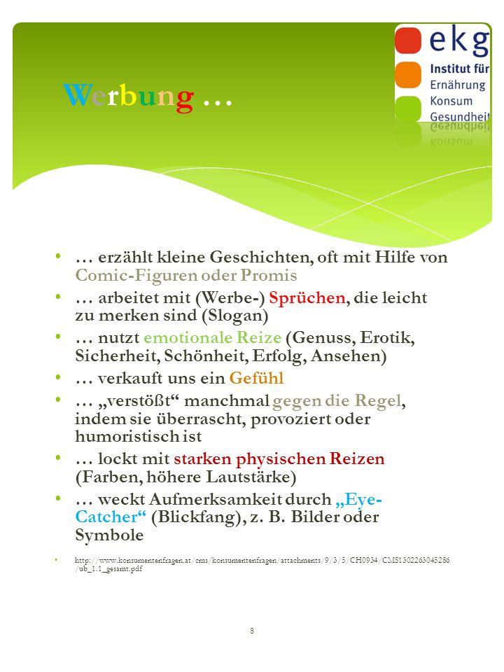  Fernsehen  Radio  Zeitung  Zeitschrift  Internet  Plakatwände / Litfaß-Säulen / Kino  Sporttrikots … 9 Werbung gibt's fast überall: