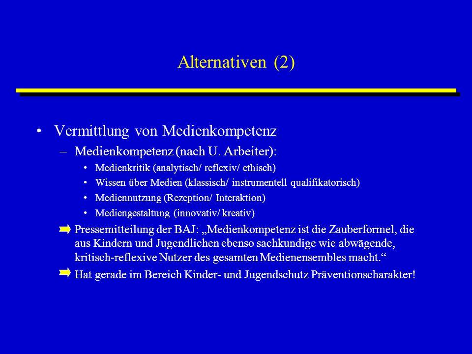 Alternativen (2) Vermittlung von Medienkompetenz –Medienkompetenz (nach U. Arbeiter): Medienkritik (analytisch/ reflexiv/ ethisch) Wissen über Medien