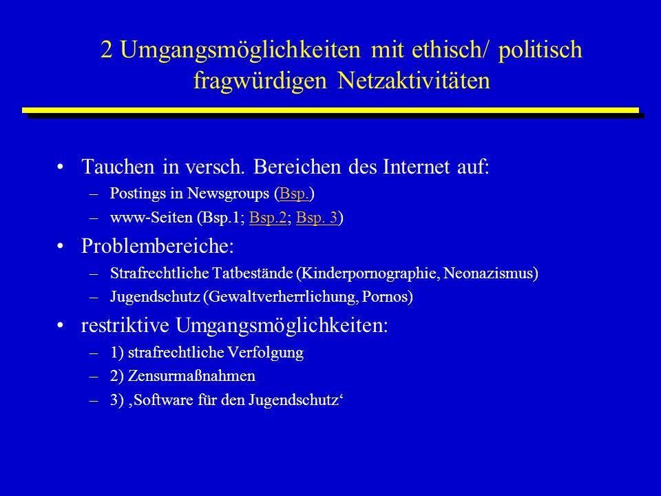 2 Umgangsmöglichkeiten mit ethisch/ politisch fragwürdigen Netzaktivitäten Tauchen in versch. Bereichen des Internet auf: –Postings in Newsgroups (Bsp