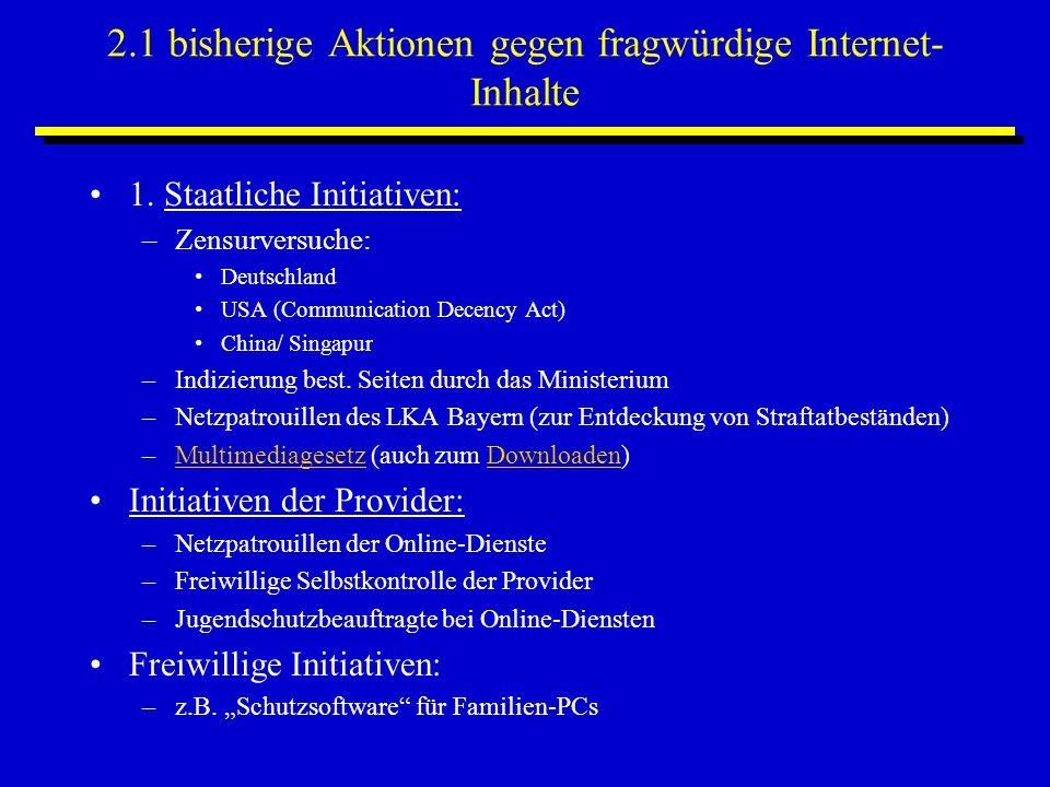 2.1 bisherige Aktionen gegen fragwürdige Internet- Inhalte 1. Staatliche Initiativen: –Zensurversuche: Deutschland USA (Communication Decency Act) Chi