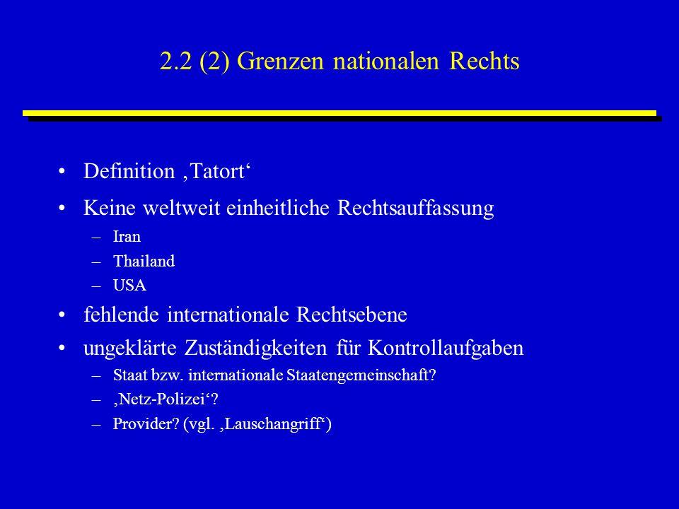 2.2 (2) Grenzen nationalen Rechts Definition 'Tatort' Keine weltweit einheitliche Rechtsauffassung –Iran –Thailand –USA fehlende internationale Rechts