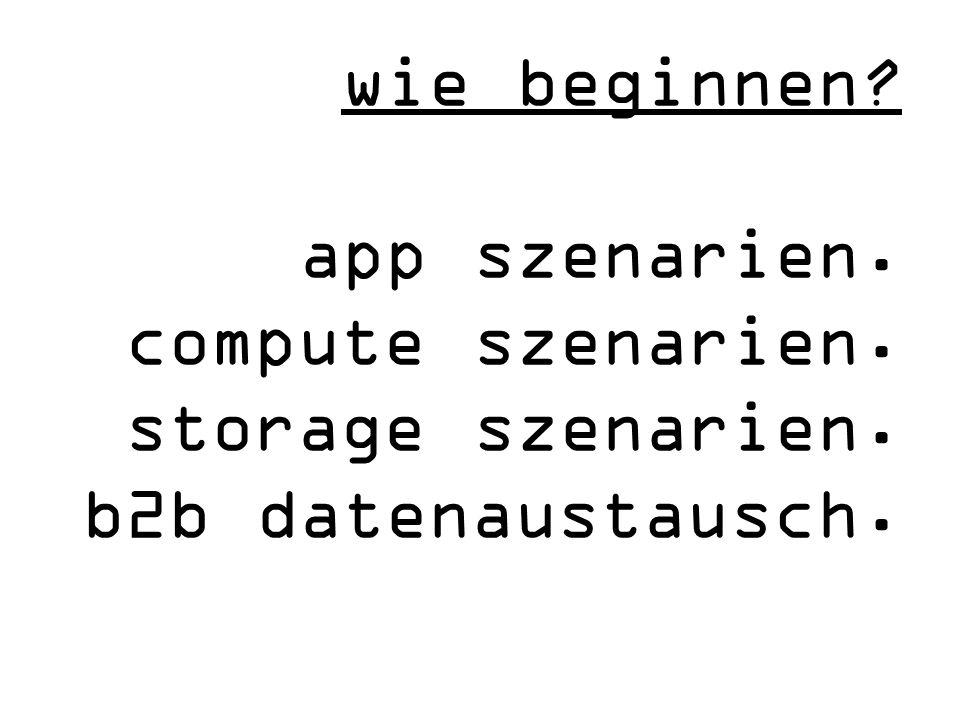 wie beginnen app szenarien. compute szenarien. storage szenarien. b2b datenaustausch.