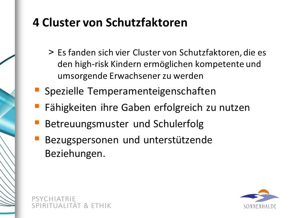 4 Cluster von Schutzfaktoren > Es fanden sich vier Cluster von Schutzfaktoren, die es den high-risk Kindern ermöglichen kompetente und umsorgende Erwa