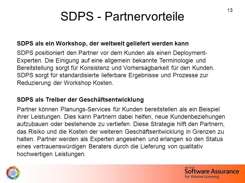 13 SDPS - Partnervorteile SDPS als ein Workshop, der weltweit geliefert werden kann SDPS positioniert den Partner vor dem Kunden als einen Deployment-