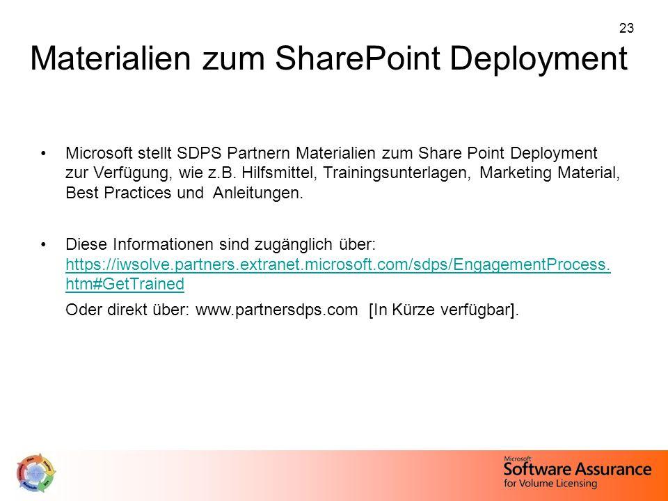 23 Materialien zum SharePoint Deployment Microsoft stellt SDPS Partnern Materialien zum Share Point Deployment zur Verfügung, wie z.B. Hilfsmittel, Tr
