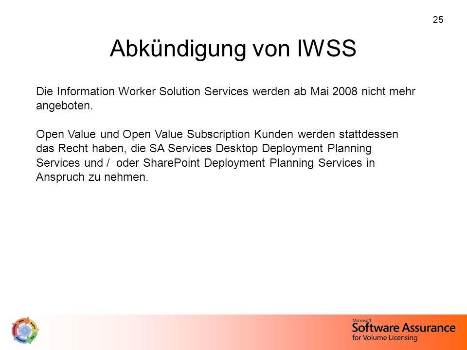 25 Abkündigung von IWSS Die Information Worker Solution Services werden ab Mai 2008 nicht mehr angeboten. Open Value und Open Value Subscription Kunde