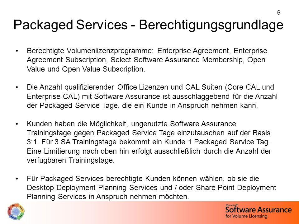 27 Abkündigung von IWSS Kunden, die die Mindestanforderung für die Packaged Services nicht erfüllen, können ungenutzte Trainingsgutscheine gegen Packaged Services auf der Basis 3:1 eintauschen.