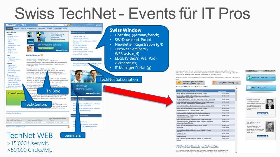 Swiss TechNet - Events für IT Pros 3 TechNet WEB >15'000 User/Mt. >50'000 Clicks/Mt. TechCenters Seminars Swiss Window Licensing (german/french) SW-Do