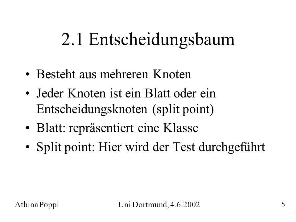 2.1 Entscheidungsbaum Besteht aus mehreren Knoten Jeder Knoten ist ein Blatt oder ein Entscheidungsknoten (split point) Blatt: repräsentiert eine Klas