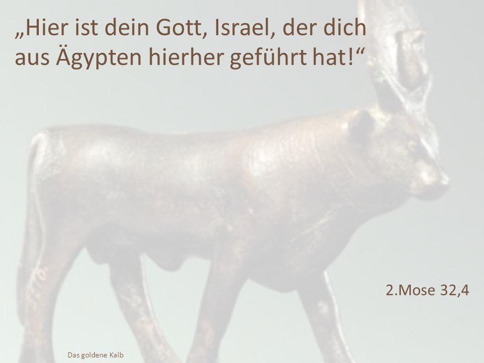 """""""Hier ist dein Gott, Israel, der dich aus Ägypten hierher geführt hat!"""" 2.Mose 32,4 Das goldene Kalb"""