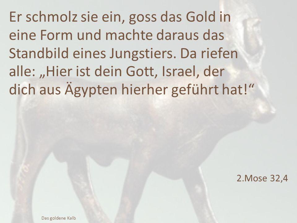 """Er schmolz sie ein, goss das Gold in eine Form und machte daraus das Standbild eines Jungstiers. Da riefen alle: """"Hier ist dein Gott, Israel, der dich"""