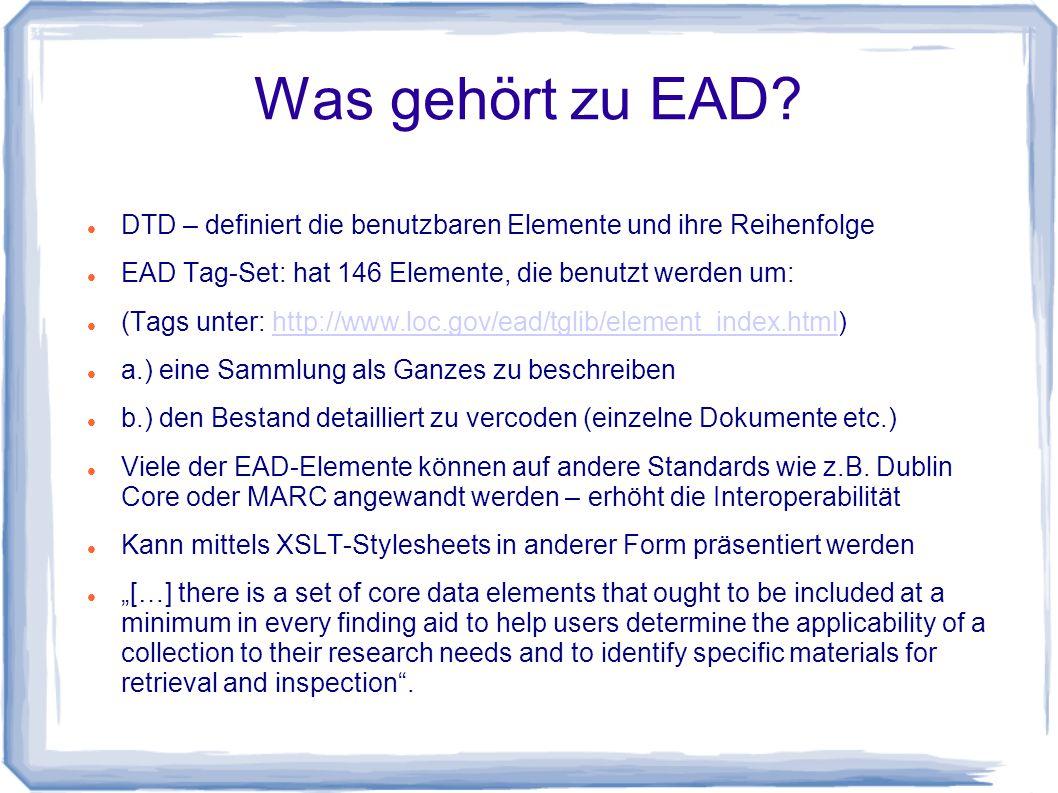 Was gehört zu EAD.