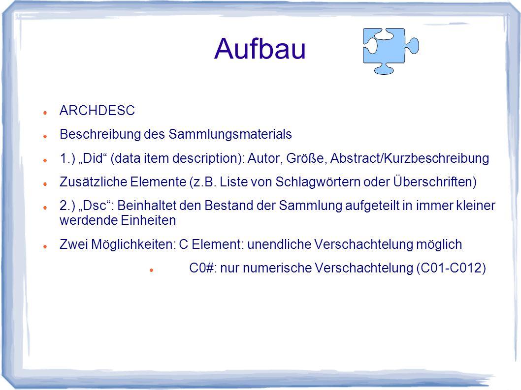 """Aufbau ARCHDESC Beschreibung des Sammlungsmaterials 1.) """"Did (data item description): Autor, Größe, Abstract/Kurzbeschreibung Zusätzliche Elemente (z.B."""