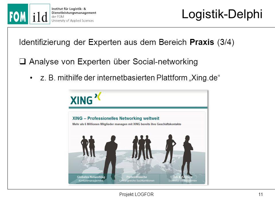 Logistik-Delphi 11Projekt LOGFOR Identifizierung der Experten aus dem Bereich Praxis (3/4)  Analyse von Experten über Social-networking z.