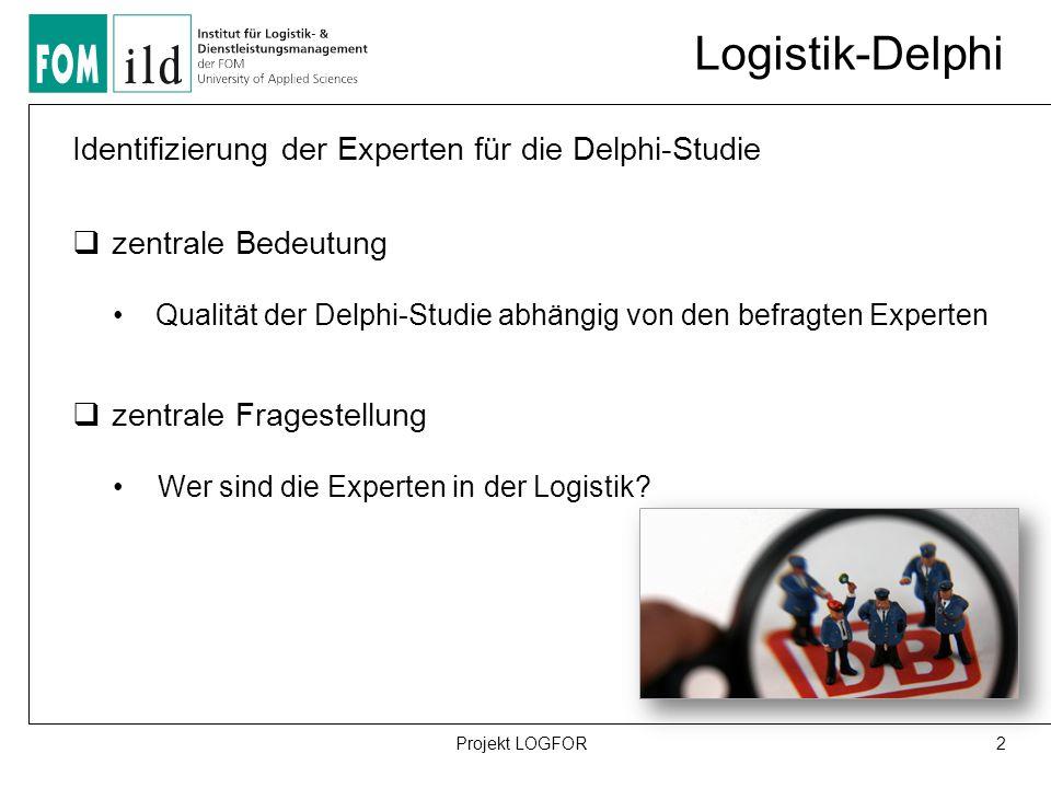 Logistik-Delphi Identifizierung der Experten für die Delphi-Studie  zentrale Bedeutung Qualität der Delphi-Studie abhängig von den befragten Experten  zentrale Fragestellung Wer sind die Experten in der Logistik.