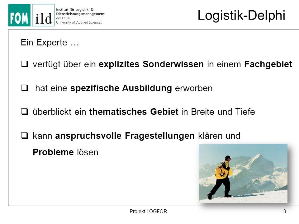 Logistik-Delphi Ein Experte …  verfügt über ein explizites Sonderwissen in einem Fachgebiet  hat eine spezifische Ausbildung erworben  überblickt ein thematisches Gebiet in Breite und Tiefe  kann anspruchsvolle Fragestellungen klären und Probleme lösen 3Projekt LOGFOR