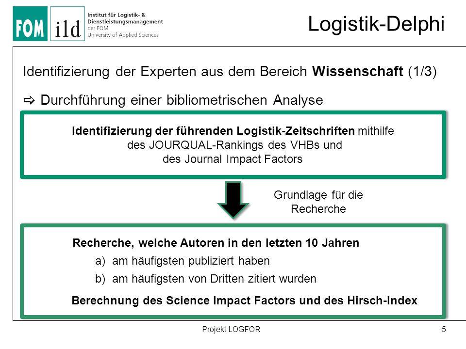 Logistik-Delphi 5Projekt LOGFOR Identifizierung der Experten aus dem Bereich Wissenschaft (1/3)  Durchführung einer bibliometrischen Analyse Identifizierung der führenden Logistik-Zeitschriften mithilfe des JOURQUAL-Rankings des VHBs und des Journal Impact Factors Recherche, welche Autoren in den letzten 10 Jahren a) am häufigsten publiziert haben b) am häufigsten von Dritten zitiert wurden Berechnung des Science Impact Factors und des Hirsch-Index Recherche, welche Autoren in den letzten 10 Jahren a) am häufigsten publiziert haben b) am häufigsten von Dritten zitiert wurden Berechnung des Science Impact Factors und des Hirsch-Index Grundlage für die Recherche