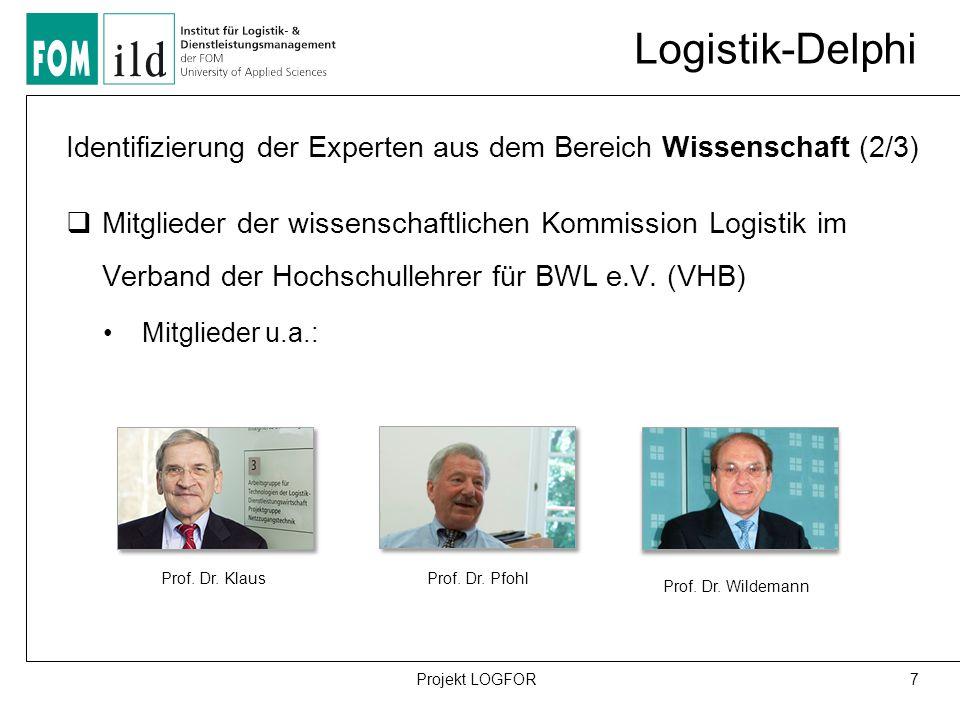 Logistik-Delphi 7Projekt LOGFOR Identifizierung der Experten aus dem Bereich Wissenschaft (2/3)  Mitglieder der wissenschaftlichen Kommission Logistik im Verband der Hochschullehrer für BWL e.V.