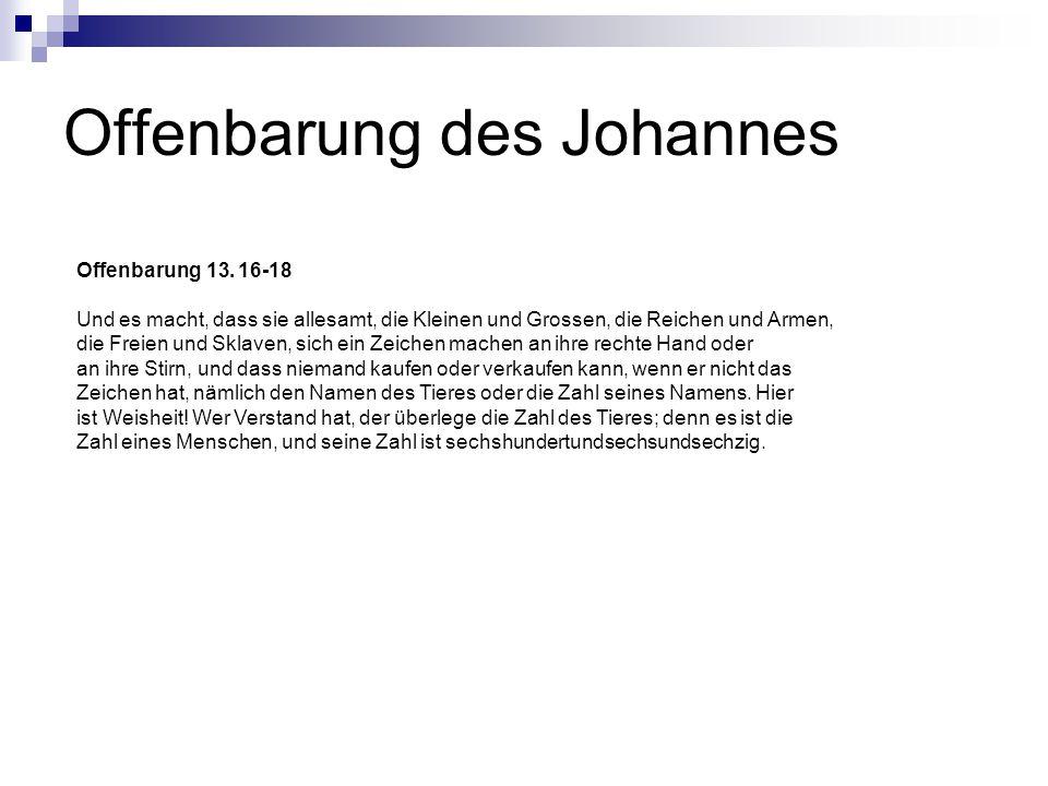 Offenbarung des Johannes Offenbarung 13.