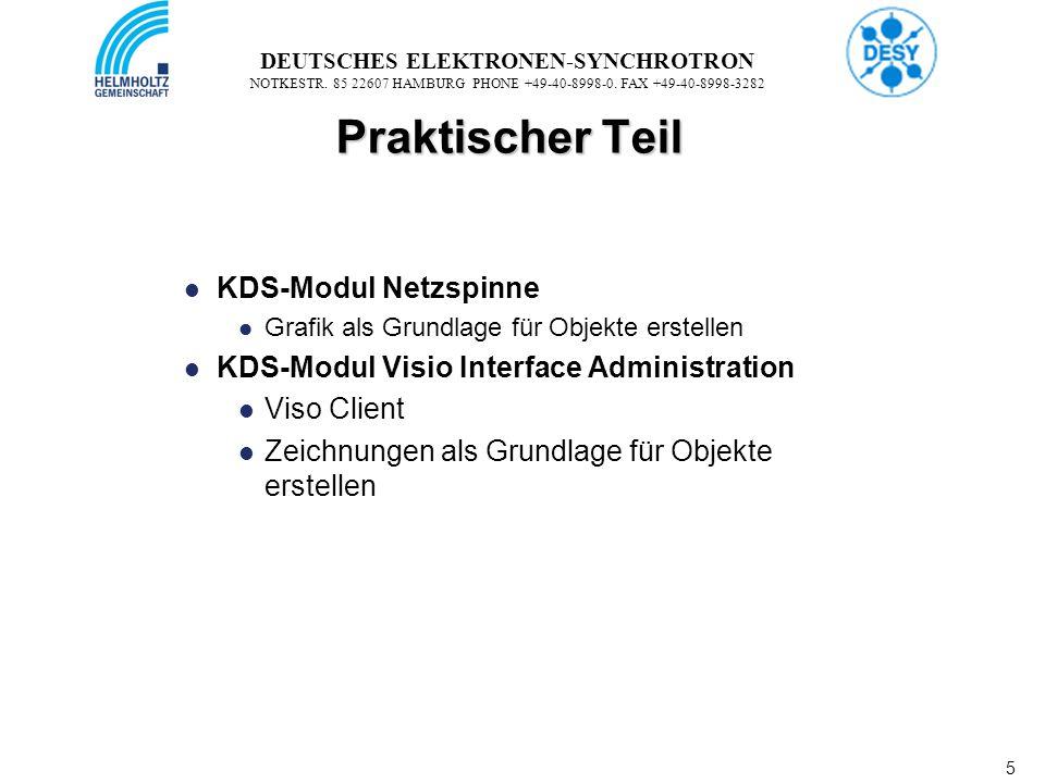5 5 DEUTSCHES ELEKTRONEN-SYNCHROTRON NOTKESTR. 85 22607 HAMBURG PHONE +49-40-8998-0. FAX +49-40-8998-3282 Praktischer Teil KDS-Modul Netzspinne Grafik