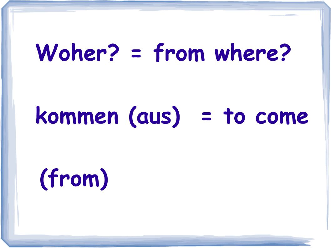 Wo? = where? wohnen (in) = to live/ reside (in)