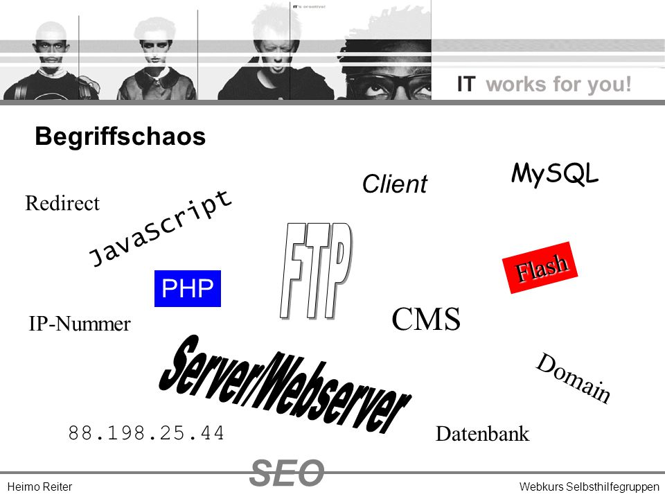 Heimo ReiterWebkurs Selbsthilfegruppen Begriffschaos JavaScript Flash Client PHP Domain IP-Nummer 88.198.25.44 CMS Datenbank MySQL Redirect SEO