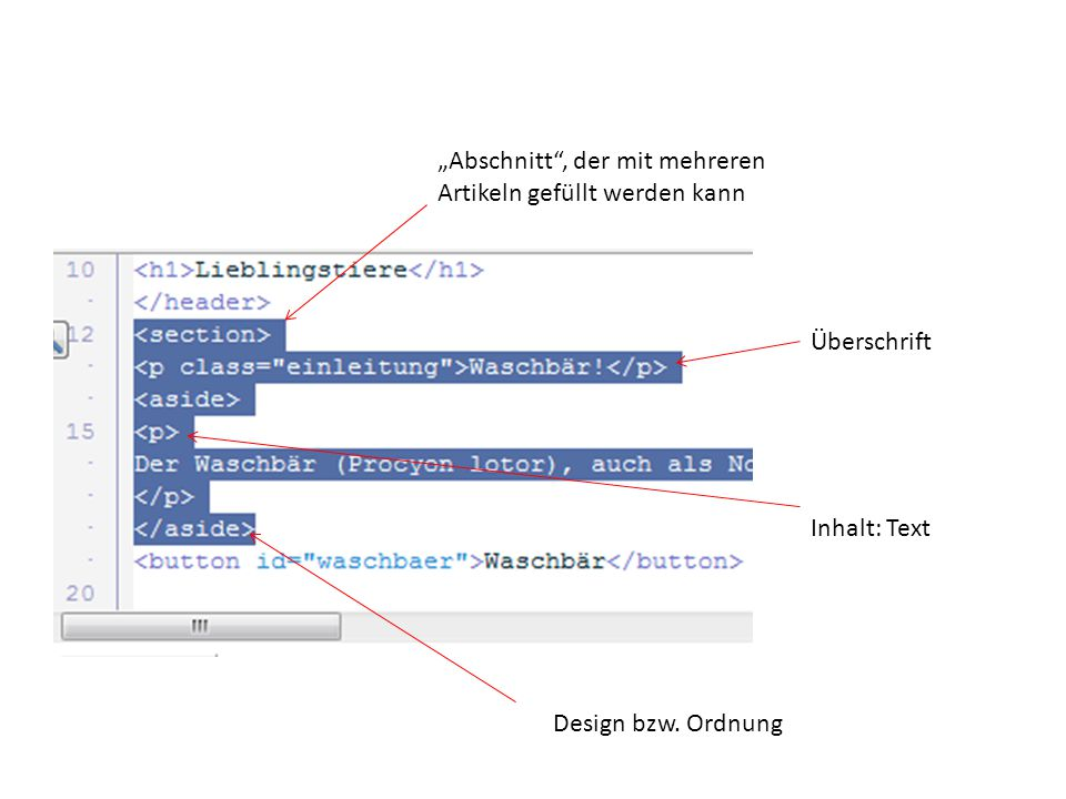 """""""Abschnitt"""", der mit mehreren Artikeln gefüllt werden kann Überschrift Design bzw. Ordnung Inhalt: Text"""