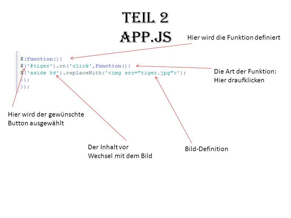 Teil 2 app.js Hier wird die Funktion definiert Hier wird der gewünschte Button ausgewählt Die Art der Funktion: Hier draufklicken Bild-Definition Der Inhalt vor Wechsel mit dem Bild