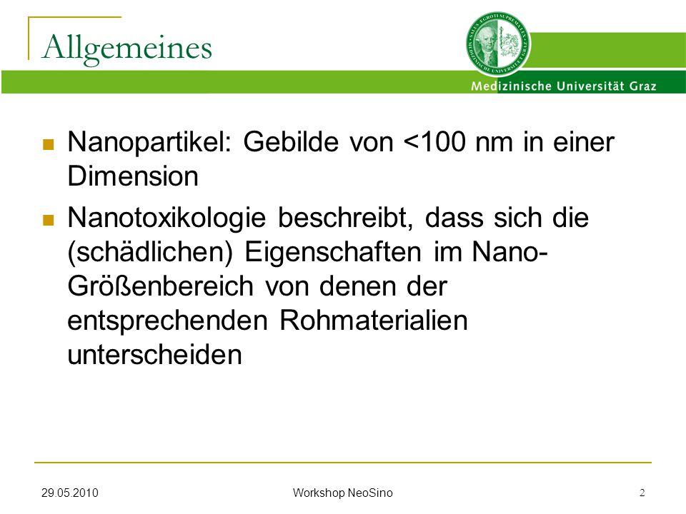 29.05.2010 Workshop NeoSino 2 Nanopartikel: Gebilde von <100 nm in einer Dimension Nanotoxikologie beschreibt, dass sich die (schädlichen) Eigenschaft