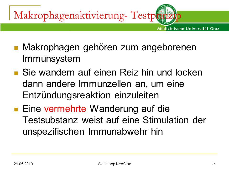29.05.2010 Workshop NeoSino 25 Makrophagen gehören zum angeborenen Immunsystem Sie wandern auf einen Reiz hin und locken dann andere Immunzellen an, u