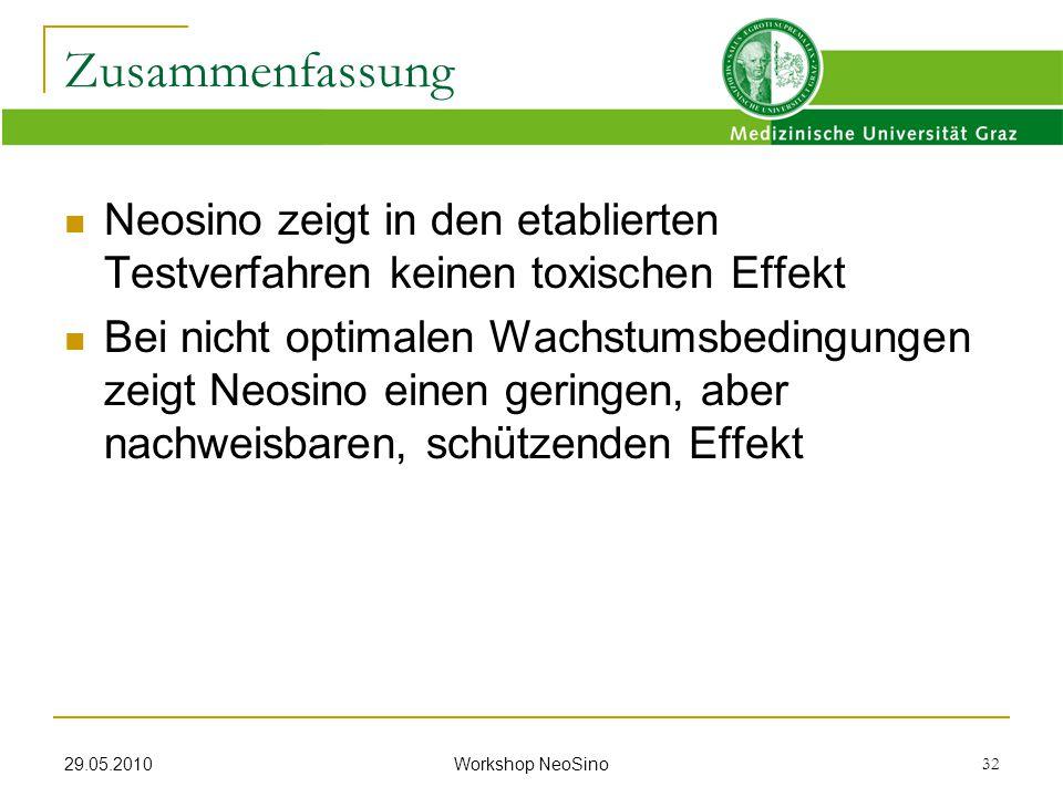 29.05.2010 Workshop NeoSino 32 Neosino zeigt in den etablierten Testverfahren keinen toxischen Effekt Bei nicht optimalen Wachstumsbedingungen zeigt N