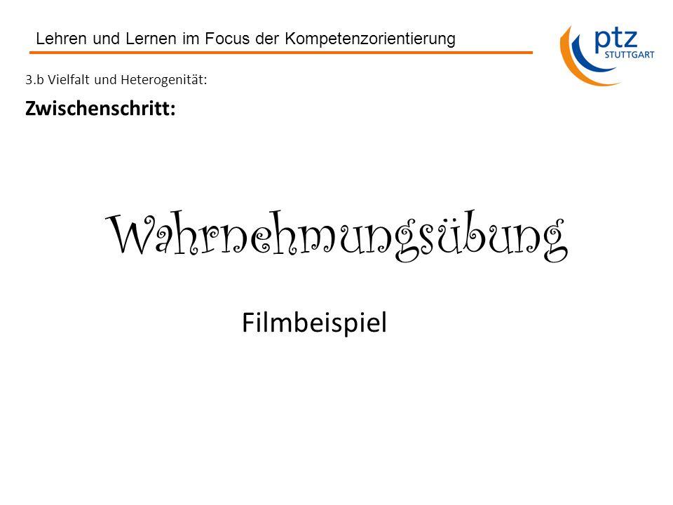 3.b Vielfalt und Heterogenität: Zwischenschritt: Wahrnehmungsübung Lehren und Lernen im Focus der Kompetenzorientierung Filmbeispiel