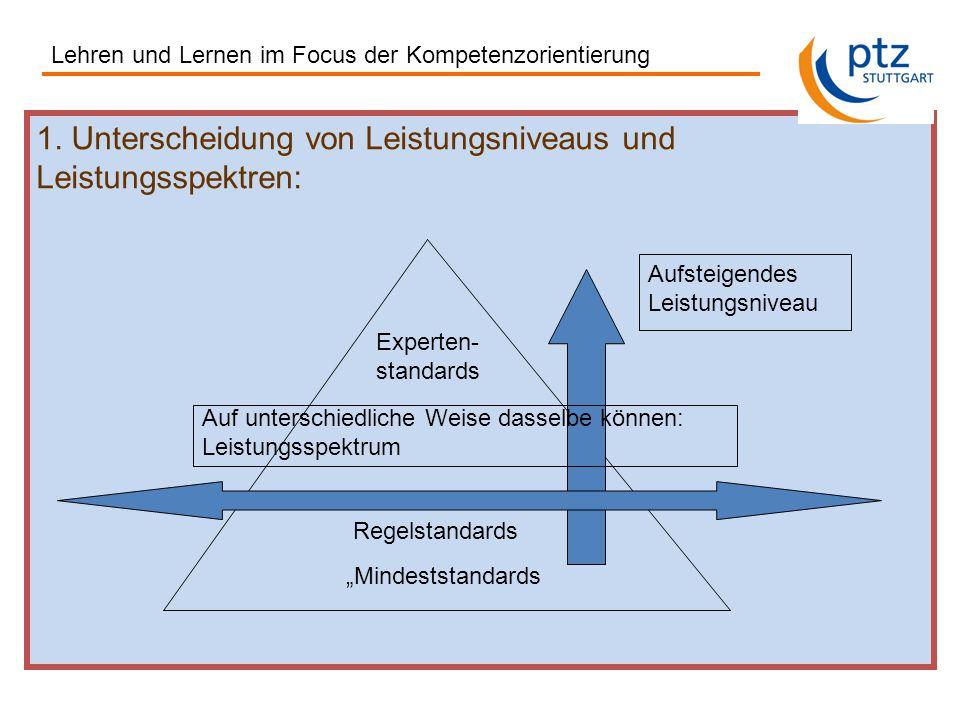 """1. Unterscheidung von Leistungsniveaus und Leistungsspektren: """"Mindeststandards Regelstandards Experten- standards Aufsteigendes Leistungsniveau Auf u"""