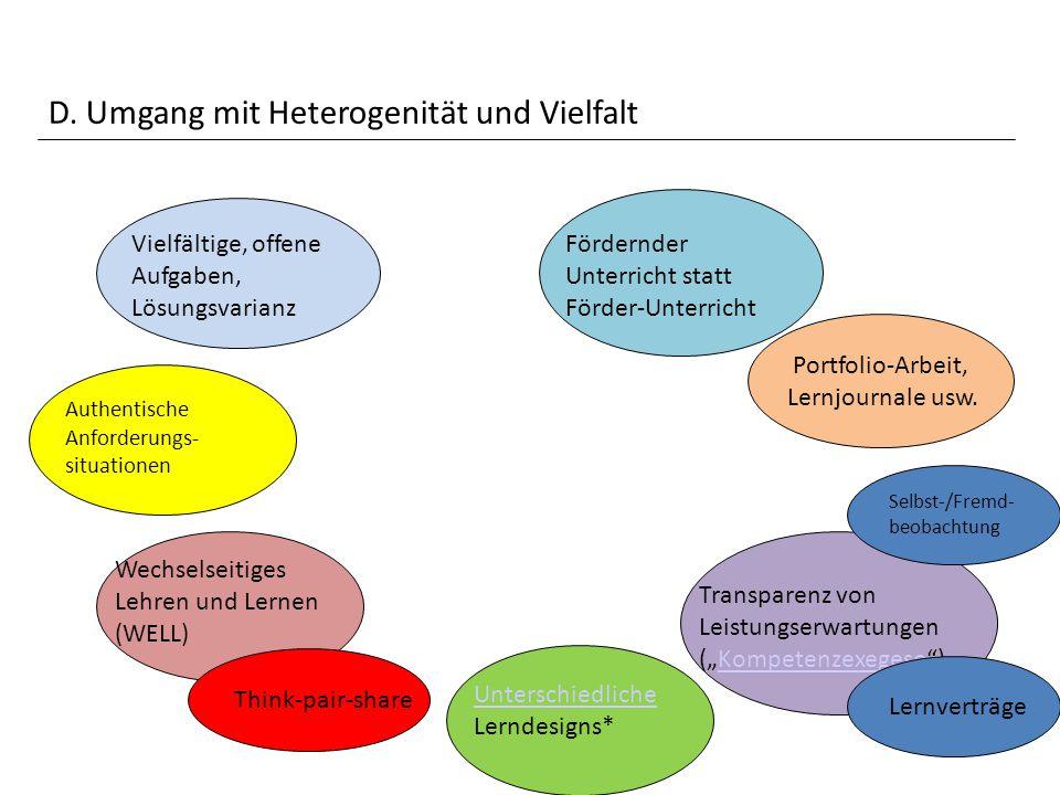 D. Umgang mit Heterogenität und Vielfalt Vielfältige, offene Aufgaben, Lösungsvarianz Authentische Anforderungs- situationen Wechselseitiges Lehren un