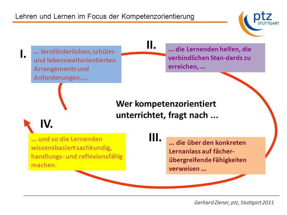 Gerhard Ziener, ptz, Stuttgart 2011 Wer kompetenzorientiert unterrichtet, fragt nach......