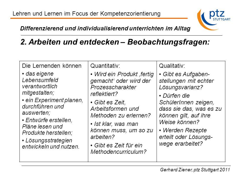 Gerhard Ziener, ptz Stuttgart 2011 Differenzierend und individualisierend unterrichten im Alltag 2.