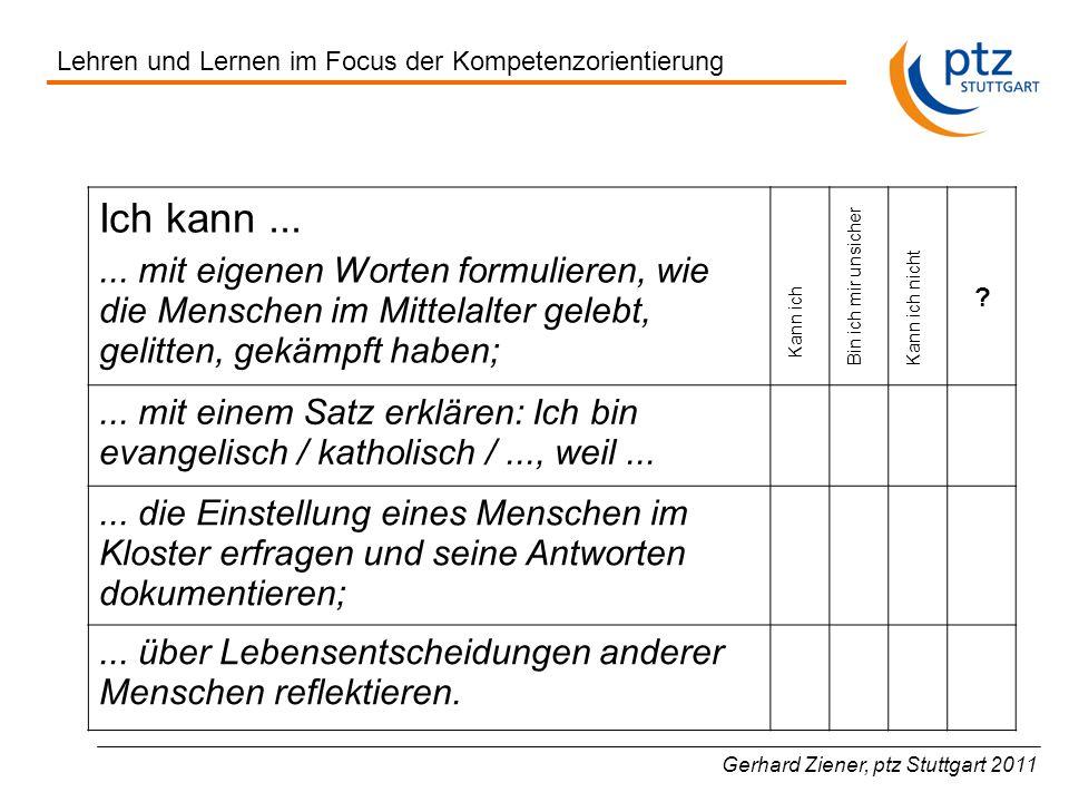 Gerhard Ziener, ptz Stuttgart 2011 Ich kann......