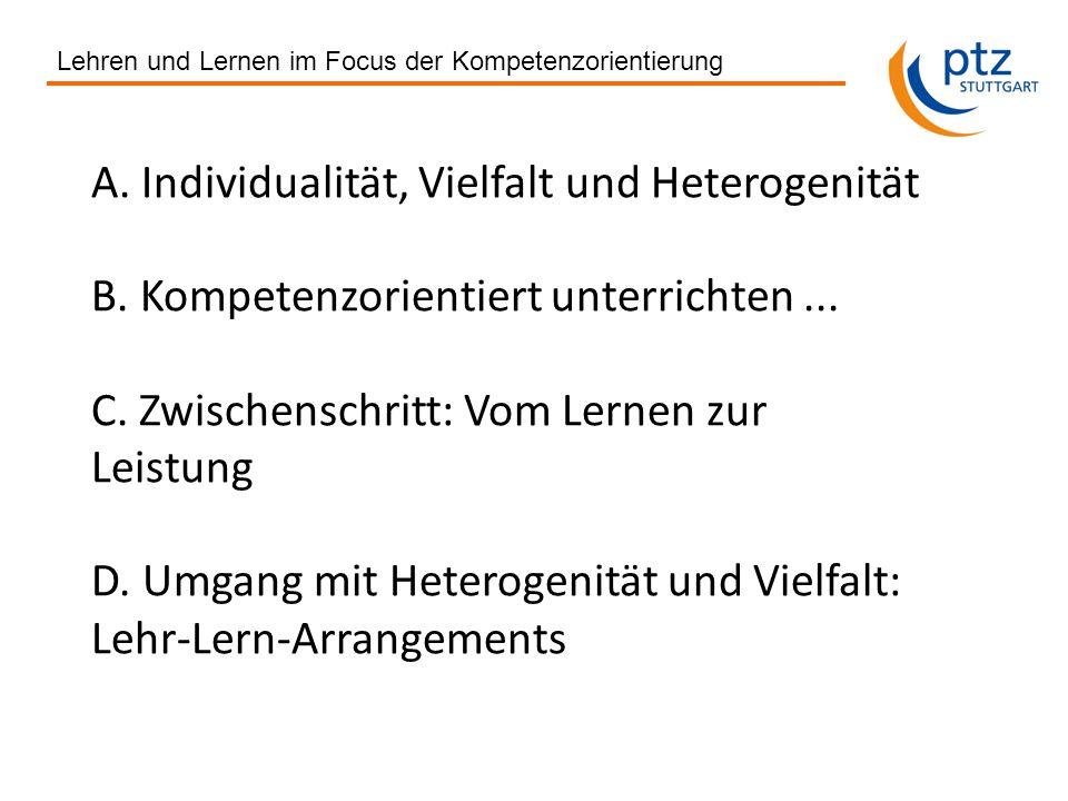 A. Individualität, Vielfalt und Heterogenität B. Kompetenzorientiert unterrichten...