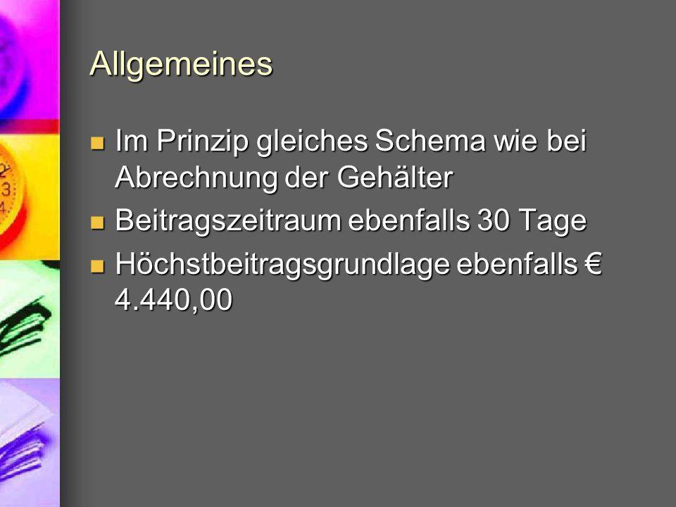 SV-Beitragssätze Arbeiter Beitrags- gruppe DNA%DGA%Summe% A1 bis € 140,00 /Tag € 4.200,-/M.