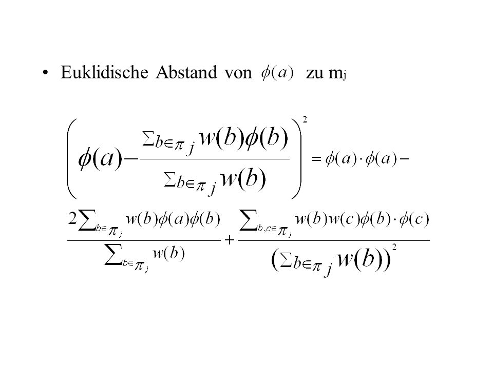 Euklidische Abstand von zu m j