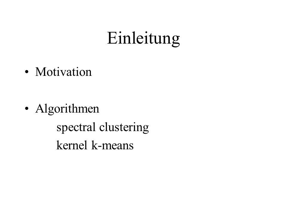 Einleitung Motivation Algorithmen spectral clustering kernel k-means
