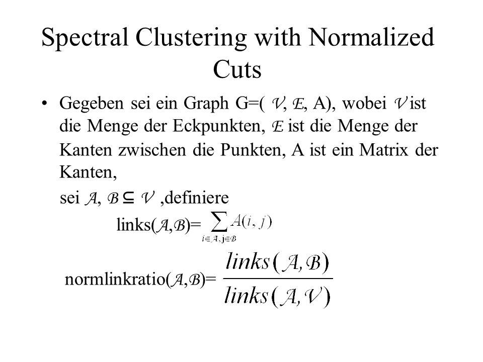 Spectral Clustering with Normalized Cuts Gegeben sei ein Graph G=( V, E, A), wobei V ist die Menge der Eckpunkten, E ist die Menge der Kanten zwischen die Punkten, A ist ein Matrix der Kanten, sei A, B ⊆ V,definiere links( A, B )= normlinkratio( A, B )=