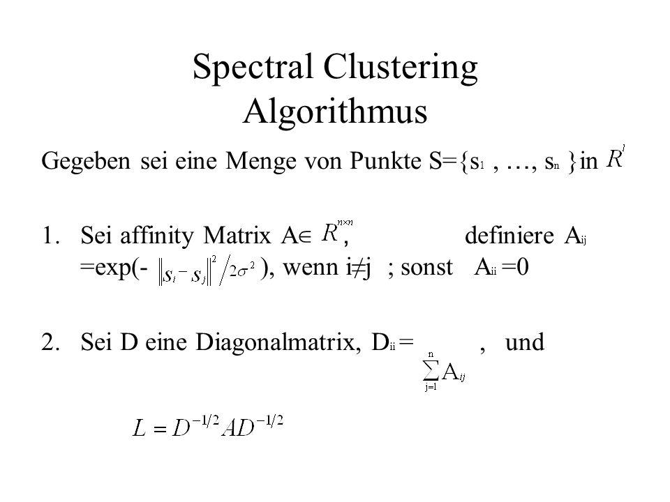 Spectral Clustering Algorithmus Gegeben sei eine Menge von Punkte S={s 1, …, s n }in 1.Sei affinity Matrix A ∈, definiere A ij =exp(- ), wenn i≠j ; sonst A ii =0 2.
