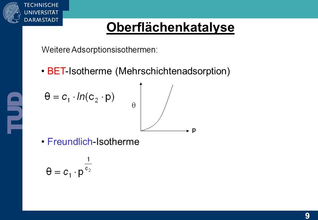 Oberflächenkatalyse Weitere Adsorptionsisothermen: BET-Isotherme (Mehrschichtenadsorption) Freundlich-Isotherme p θ 9