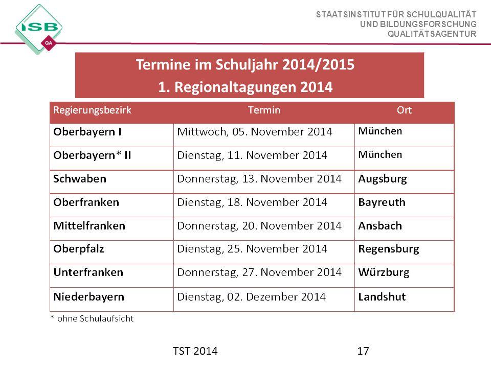 STAATSINSTITUT FÜR SCHULQUALITÄT UND BILDUNGSFORSCHUNG QUALITÄTSAGENTUR TST 201417 Termine im Schuljahr 2014/2015 1. Regionaltagungen 2014