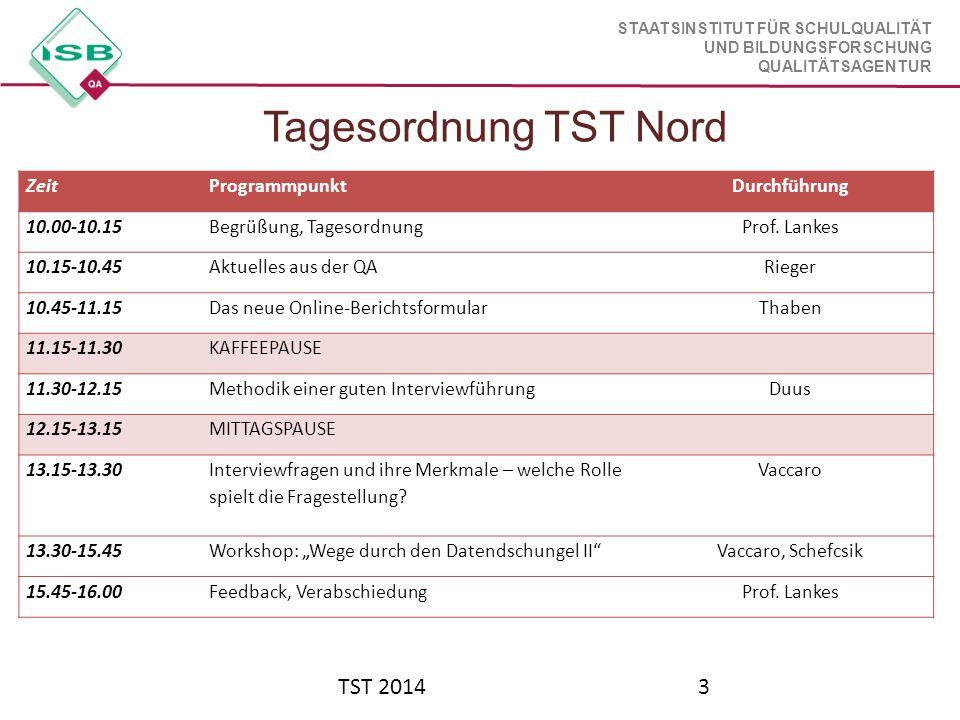 STAATSINSTITUT FÜR SCHULQUALITÄT UND BILDUNGSFORSCHUNG QUALITÄTSAGENTUR Tagesordnung TST Nord TST 20143 ZeitProgrammpunktDurchführung 10.00-10.15Begrü