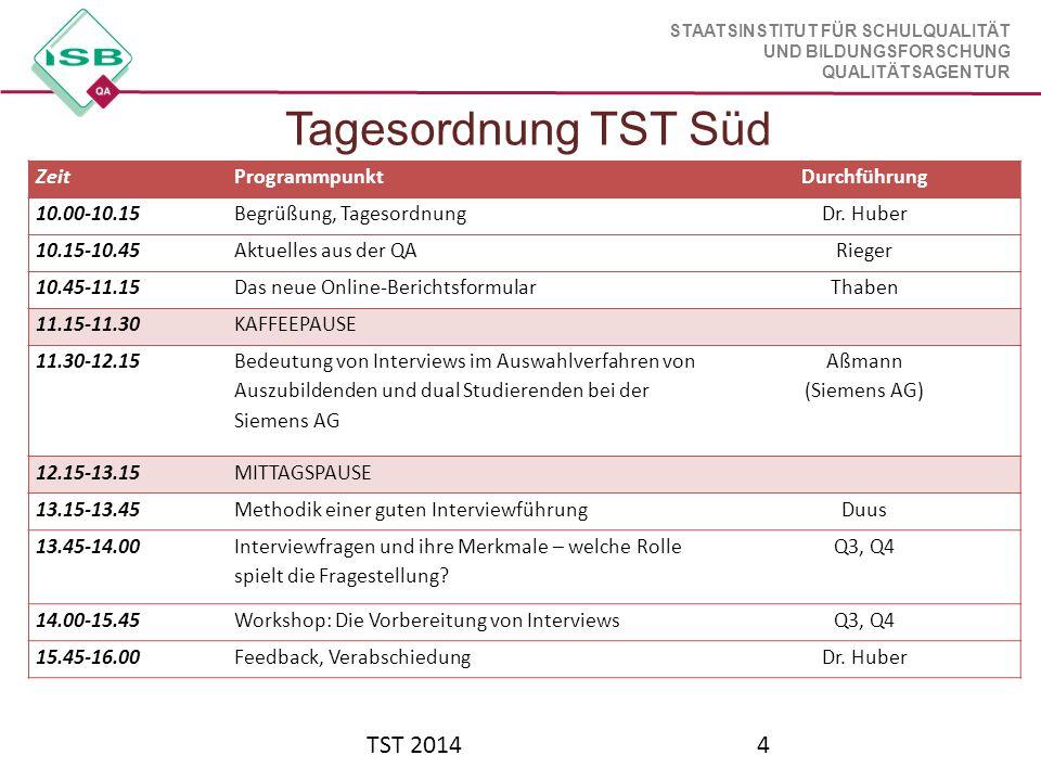 STAATSINSTITUT FÜR SCHULQUALITÄT UND BILDUNGSFORSCHUNG QUALITÄTSAGENTUR Tagesordnung TST Süd TST 20144 ZeitProgrammpunktDurchführung 10.00-10.15Begrüß
